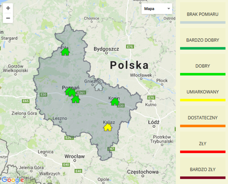 Jakość powietrza w woj. wielkopolskim (WIOŚ Poznań)