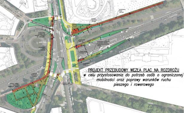Projekt zmian na placu Na Rozdrożu Urząd Miasta