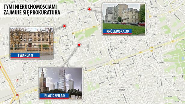 Zatrzymania w związku z tymi nieruchomościami graf. tvn24.pl ; tvnwarszawa.pl ; mat. prasowe