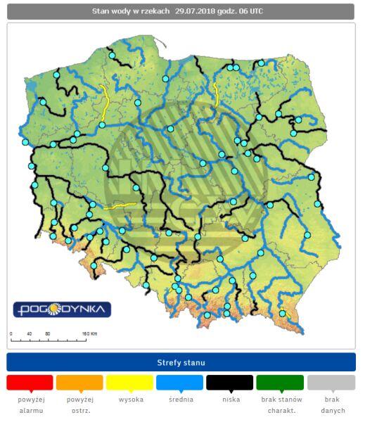 Stany wody w rzekach 29.07.2018 r. o godz. 6