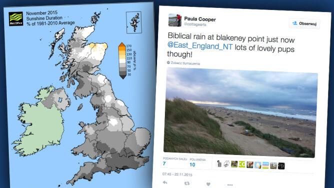 Pogoda nie mogła być bardziej angielska. Za Wielką Brytanią najbardziej pochmurny listopad od lat