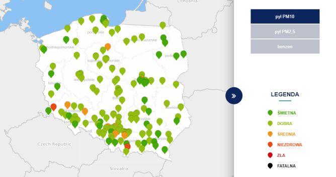Stężenie pyłu PM10 o godzinie 12 (tvnmeteo.pl za GIOŚ)